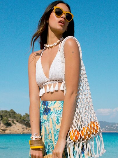 4827e9f06c0b9b Tassel Hem Halter Crochet Bikini Top