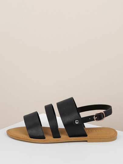 1ba04f6668e5 Triple Strap Open Toe Slingback Sandals