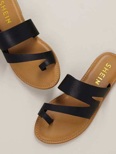e07b7636c1e7 Asymmetric Toe Loop Slide Flat Sandals