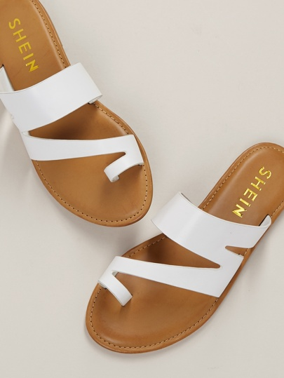 e5a39245ceb Cut Out Toe Band Slide On Flat Sandals