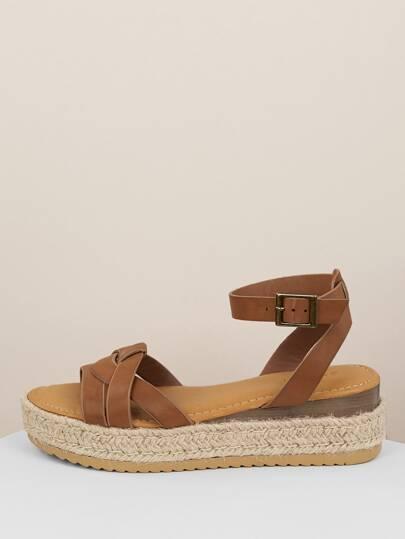 aeb19c16a83 Strappy Jute Trim Platform Ankle Strap Sandals