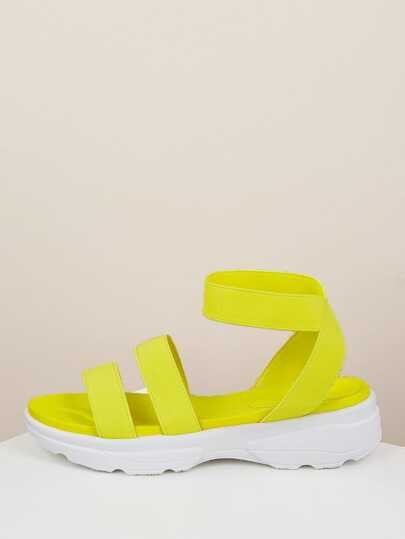 818a334f49c8 Neon Strappy Chunky Sneaker Sandals