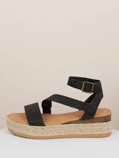 aa8f07c2155c Buckled Asymmetric Band Jute Flatform Sandals