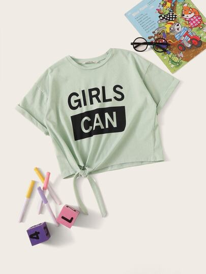 fc38ff5354c5a1 Girls Letter Print Rolled Cuff Knotted Tee