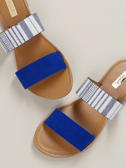 6d13cac26d6c Striped Two Band Flat Slide Sandals