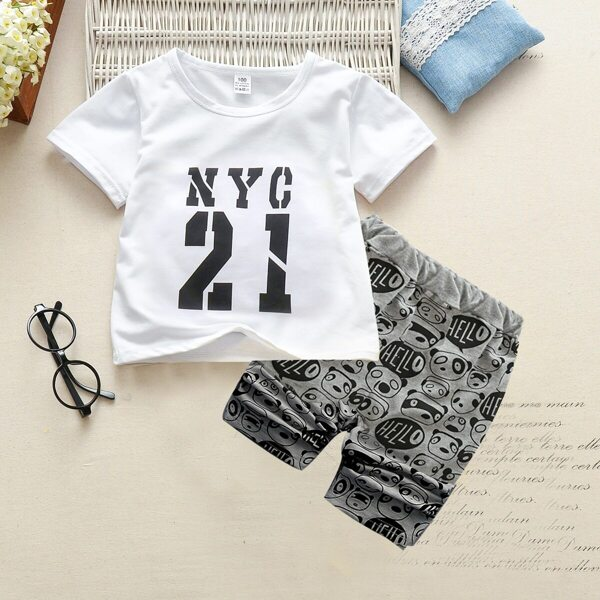 Toddler Boys Letter Print Tee With Cartoon Print Pants
