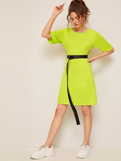 354e33533346 Neon Green T-shirt Dress With Push Buckle Belted