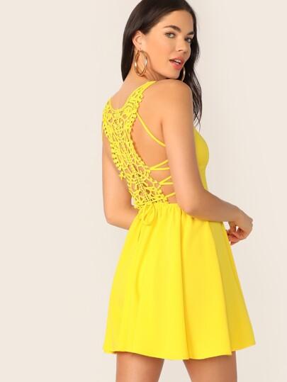 2a6b40f39e3a Neon Yellow Lace Up Guipure Lace Back Cami Sundress