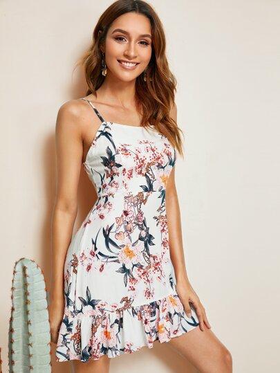 75493c5771933c Cami Kleid mit Pflanzen Muster und Raffung