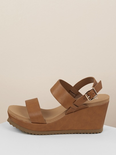 badd1df4dd8 Thick Two Band Slingback Platform Wedges