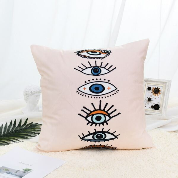 Eye Print Cushion Cover, Pink