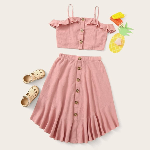 Girls Buttoned Ruffle Trim Top & Curved Hem Skirt Set