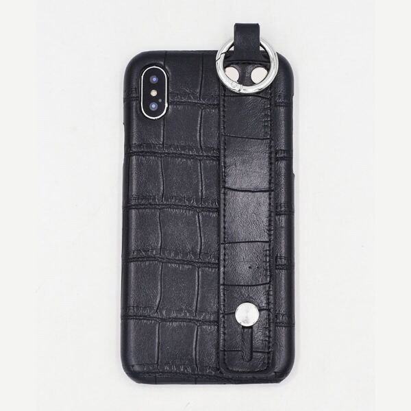 Textured PU iPhone Case With Grip Band, Black