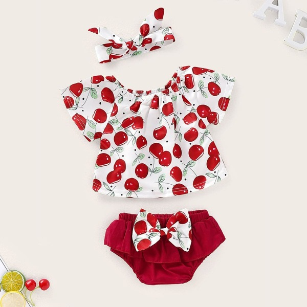 Baby Girls Cherry Print Blouse & Bow Front Shorts & Headband