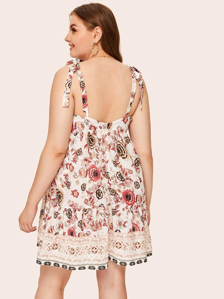 4726c0be39 Plus Floral Print Knot Dress | SHEIN