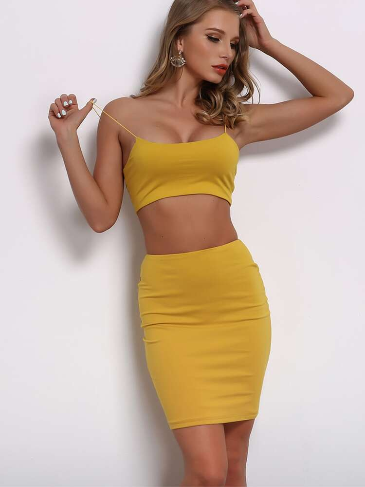 2e17bbd07b Joyfunear Solid Crop Cami Top & Bodycon Skirt Set | SHEIN