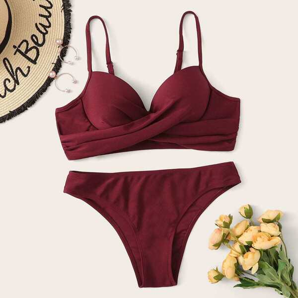 Ruched Bustier Top With Panty Bikini Set
