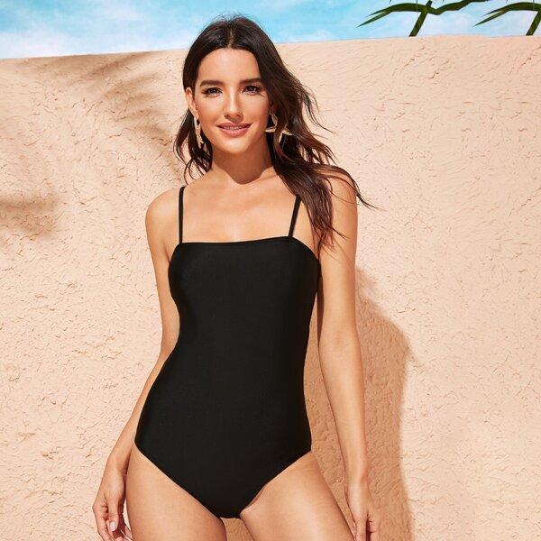 Spaghetti Strap One Piece Swimsuit, Black