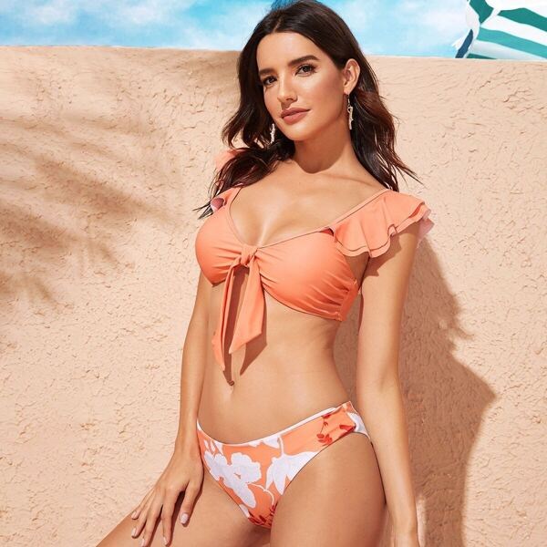 Ruffle Knot Front Top With Floral Panty Bikini Set, Coral orange