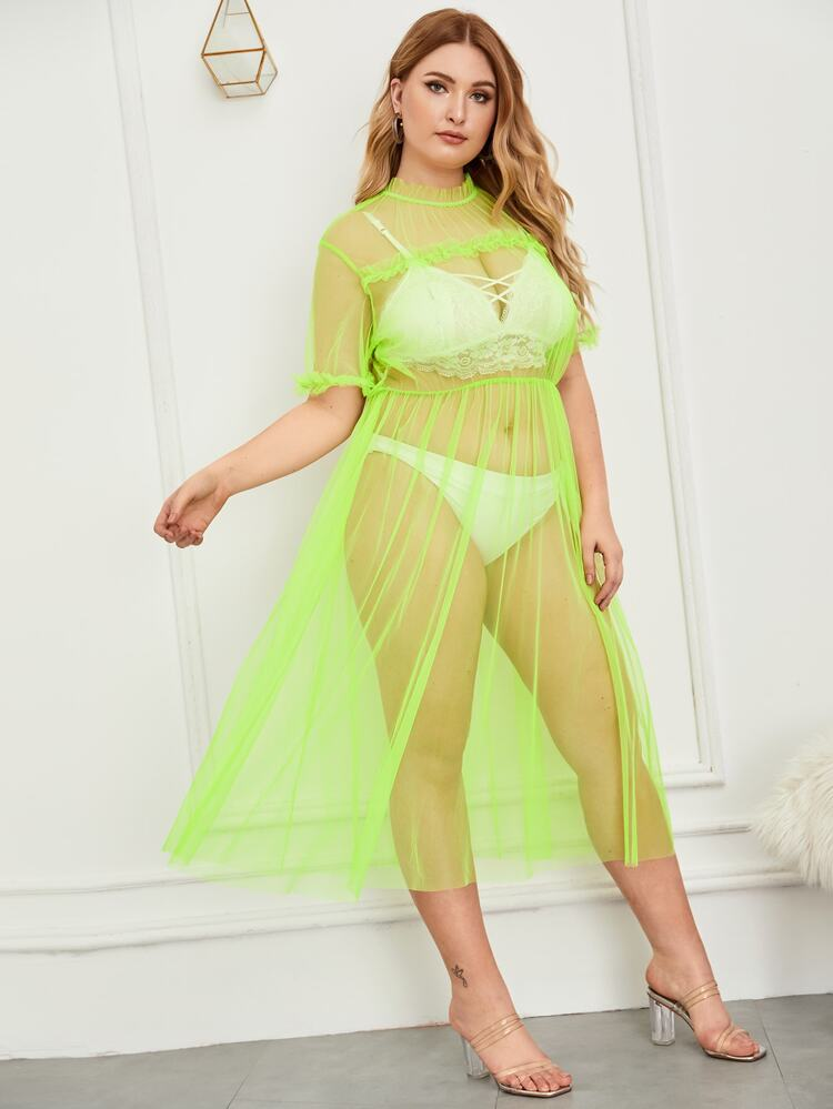 8d2120373d82fe Plus Neon Green Frill Trim Sheer Mesh Dress | SHEIN