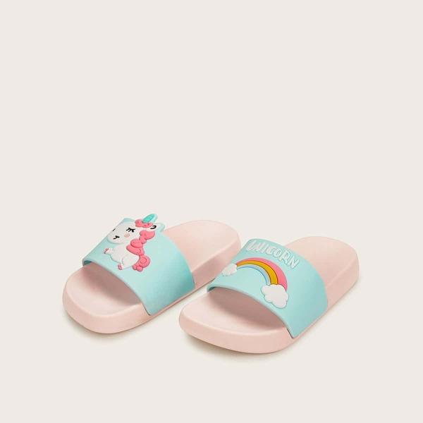 Toddler Girls Rainbow Decor Open Toe Sliders, Multicolor