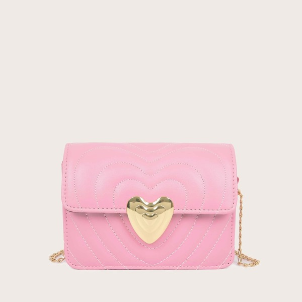 Girls Heart Shaped Lock Chain Bag
