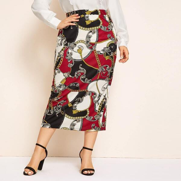 Plus Chain Print Pencil Skirt