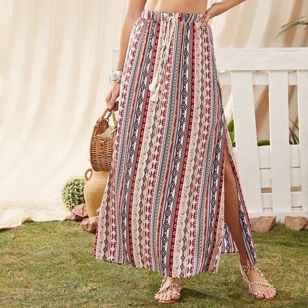 Geo Print Split Thigh Fringe Detail Skirt, Multicolor
