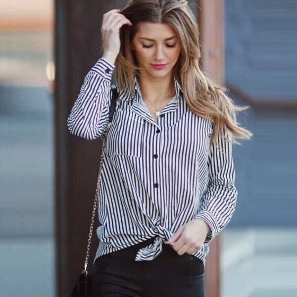 Button Front Striped Blouse