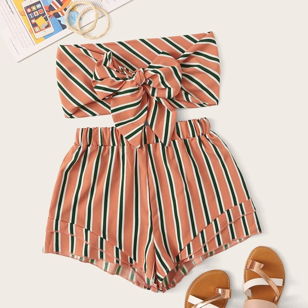 Stripe Print Tie Front Bandeau With Shorts