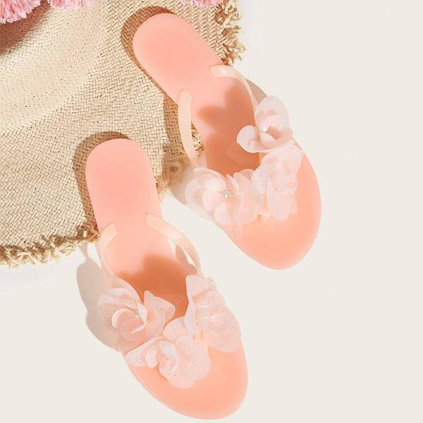 Floral Applique Toe Post Jelly Shoes, Pink