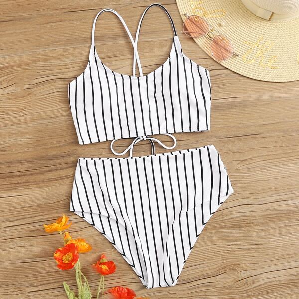 Striped Criss Cross Top With High Waist Bikini, Black and white