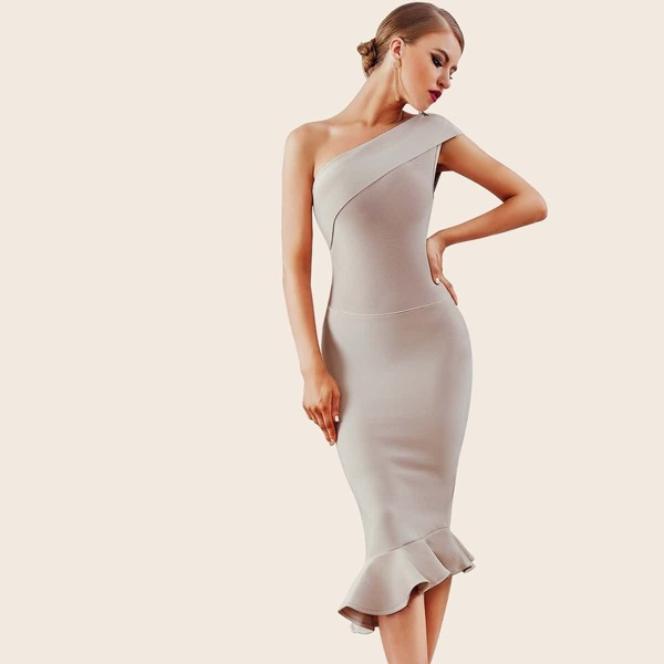 Adyce Ruffle Hem One Shoulder Bandage Pencil Dress, Grey
