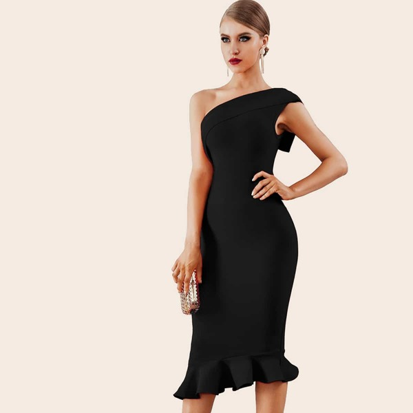 Adyce Ruffle Hem One Shoulder Bandage Pencil Dress, Black