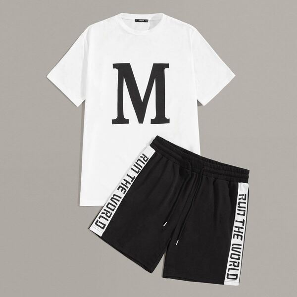 Men Letter Graphic Top and Drawstring Waist Tape Side Shorts Set, Black and white