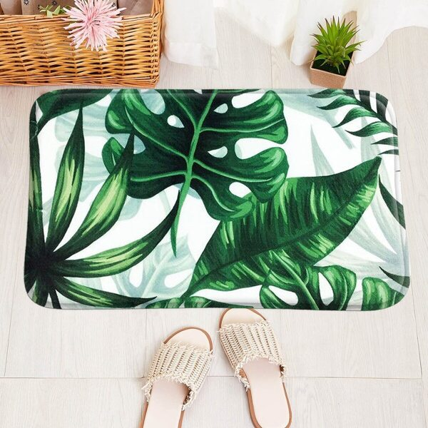 Leaf Print Floor Mat, Multicolor