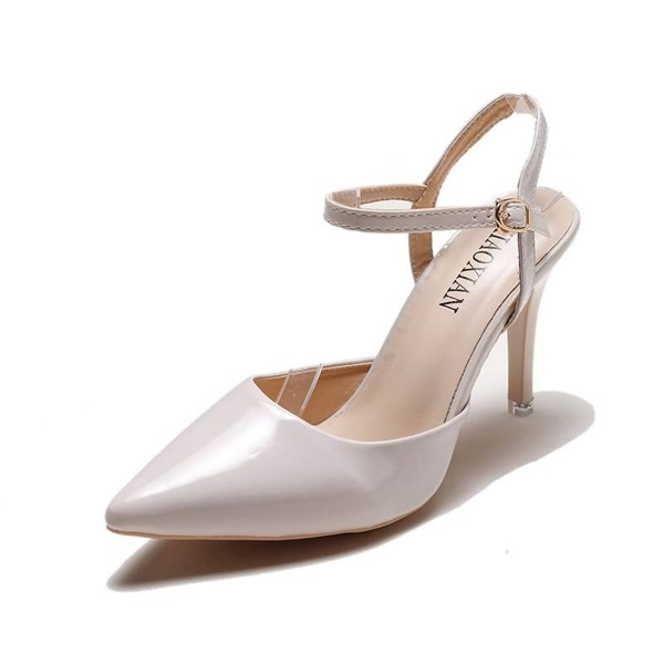Point Toe Buckle Strap Stiletto Heels, Beige