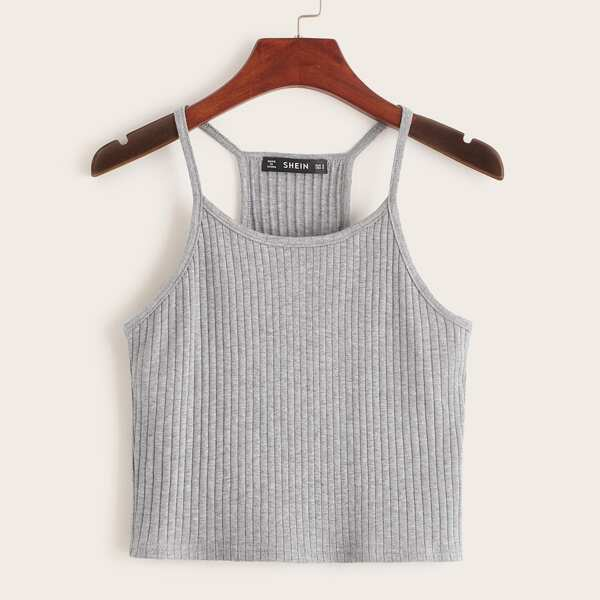 Ribbed Heathered Knit Cropped Cami Top, Light grey