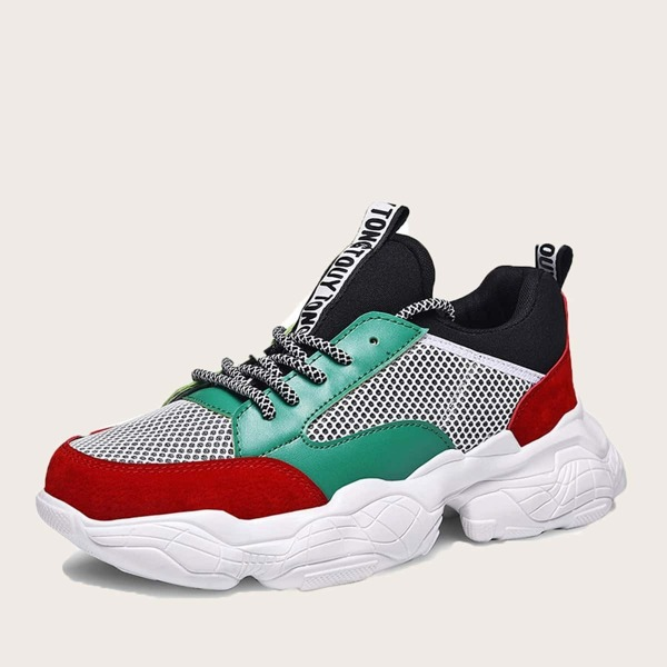 Men Color Block Mesh Panel Sneakers, Multicolor