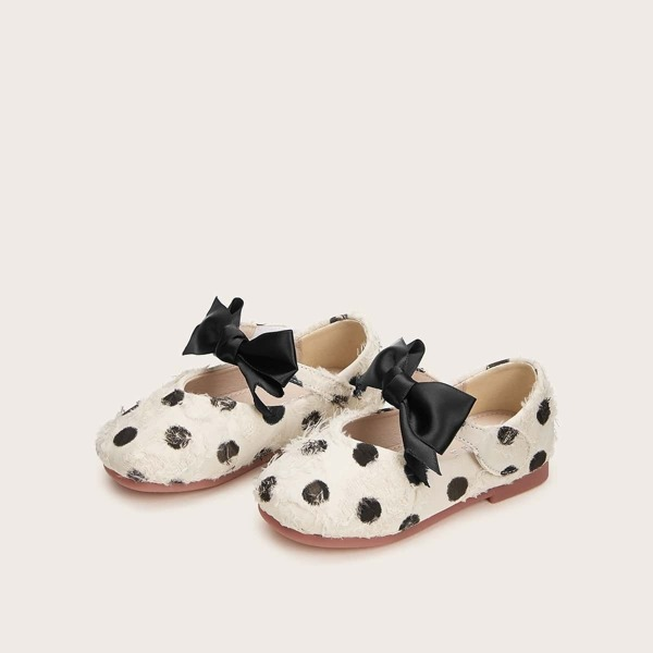 Baby Girls Bow Decor Polka Dot Flats, Black and white