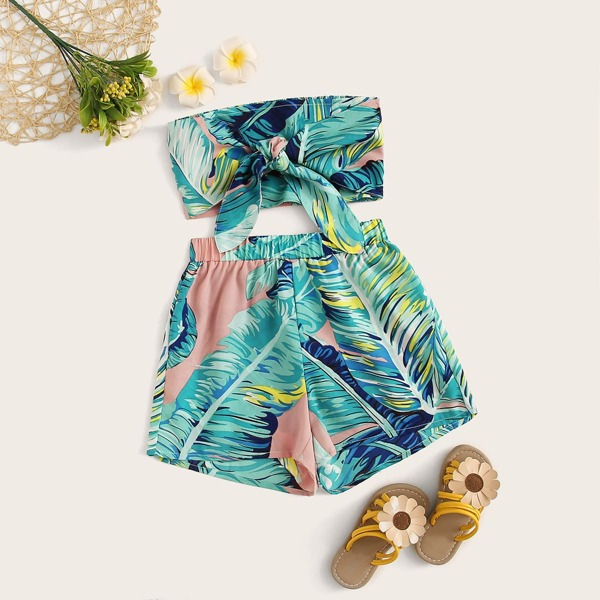 Girls Tropical Print Tie Front Bandeau and Shorts Set