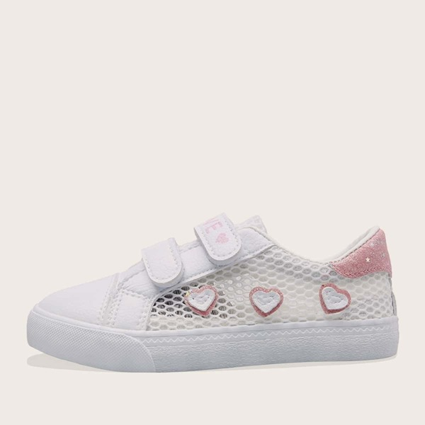 Girls Heart Patch Glitter Detail Sneakers, White