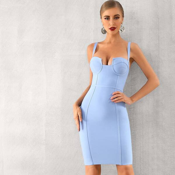 Adyce Solid Zip Back Bustier Bodycon Slip Dress, Blue pastel
