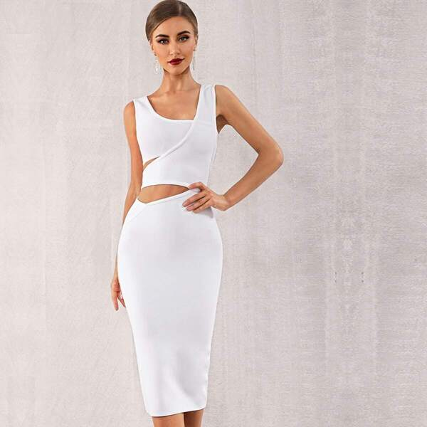 Adyce Solid Cut-out Asymmetrical Neck Bodycon Dress, White