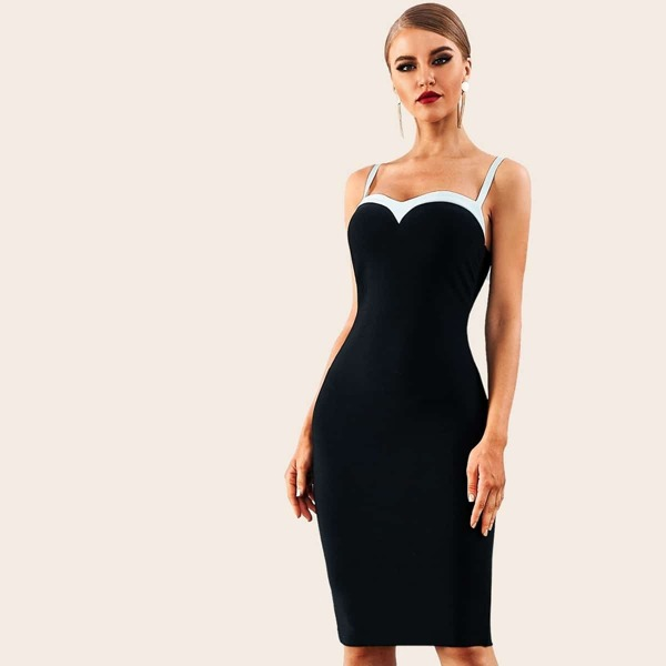 Adyce Sweetheart Neck Bodycon Slip Dress, Black