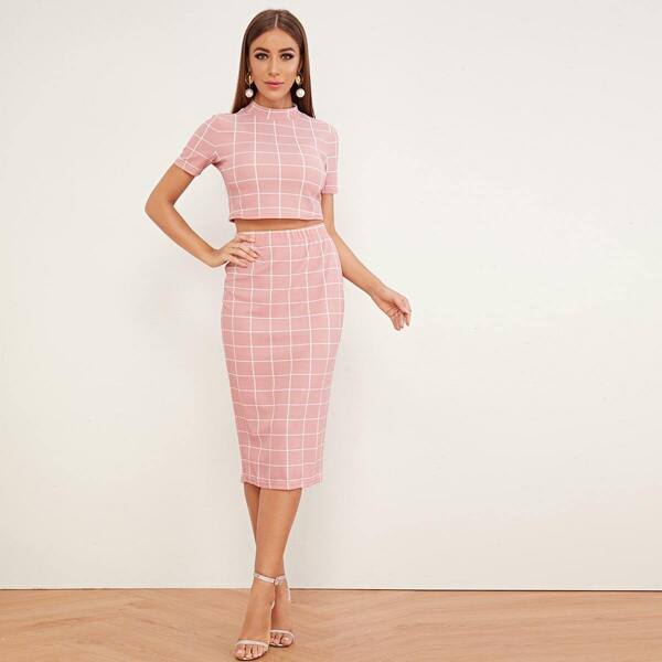 Mock-Neck Grid Top & Split Back Pencil Skirt Set