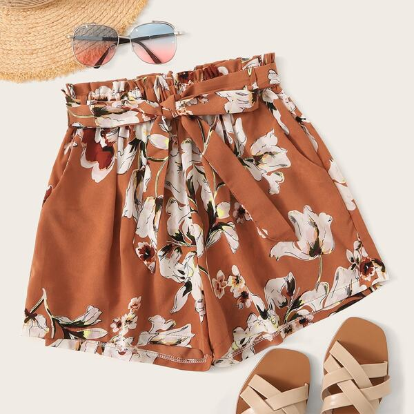 Floral Print Self-Tie Paperbag Waist Shorts, Burnt orange