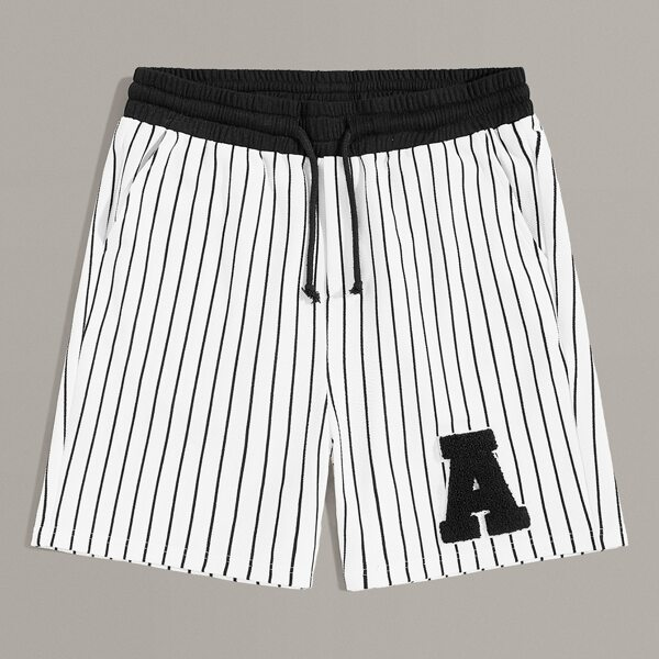 Men Patched Detail Drawstring Waist Striped Shorts, White