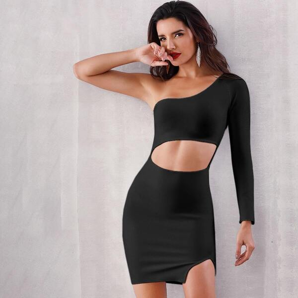 Adyce One Shoulder Cut-out Split Hem Bodycon Dress, Black