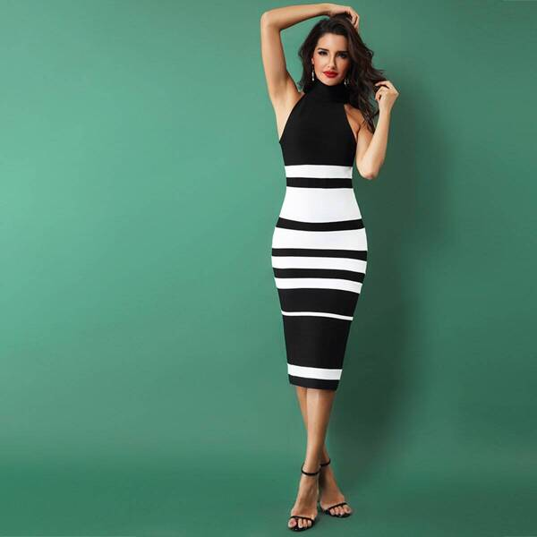 Adyce Two Tone Zip Side Bodycon Dress, Black and white
